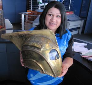 Hollywood Wax Museuem's Autographed Rocketeer Helmet