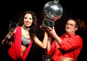 Chuck and Stephanie with their Mirror Ball Trophy