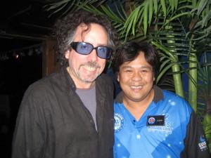 Tim Burton with Hollywood Wax Museum Employee Joseph