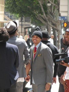 Chris Brown filming for music video