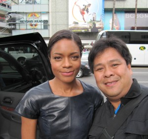 Bond Girl Naomie Harris stops to pose with Hollywood Joseph