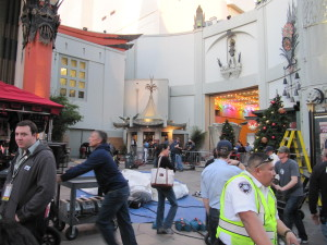 Iron Man 3 films in front of Grauman's Chinese Theatre