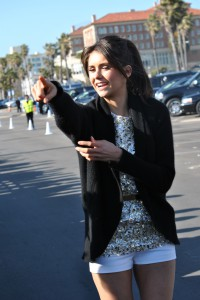 Nina Dobrev from The Vampire Diaries points at Hollywood Joseph in Santa Monica, CA.